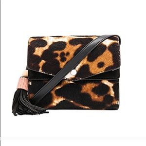 Elizabeth and James suede leopard crossbody bag